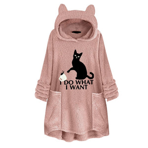 I Do What I Want Fluffy Fleece Oversize Hoodie With Cat Ears