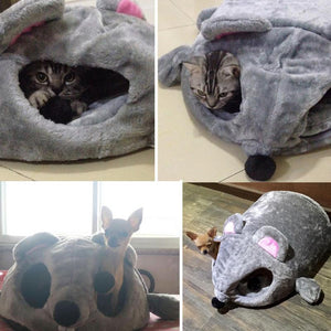 Mouse Cat House Bed With Removable Cushion & Waterproof Bottom