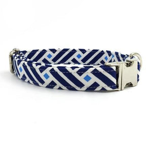 Blue Vintage Pet Collar with Bow Tie