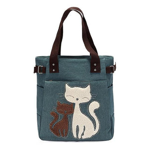 Cat Embroidery Canvas Bags