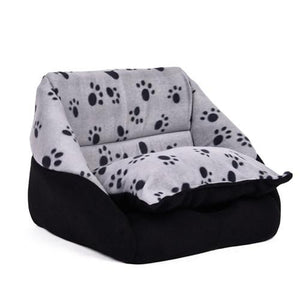 2 Way Use Pet Dog House Nest Bed with Paw Printed Pattern
