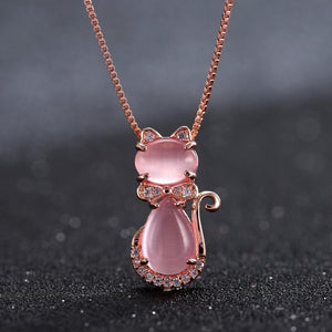 Pink Quartz Crystal Rose Gold Plated Rhinestone Cat Necklace