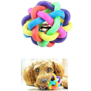 Pet Rainbow Rubber Teeth Chew Training Bell Sound Ball Toy