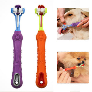 Three Side Pet Toothbrush For Dogs and cats