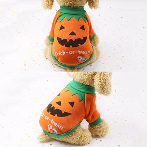Pumpkin Dog Sweater Halloween Costume