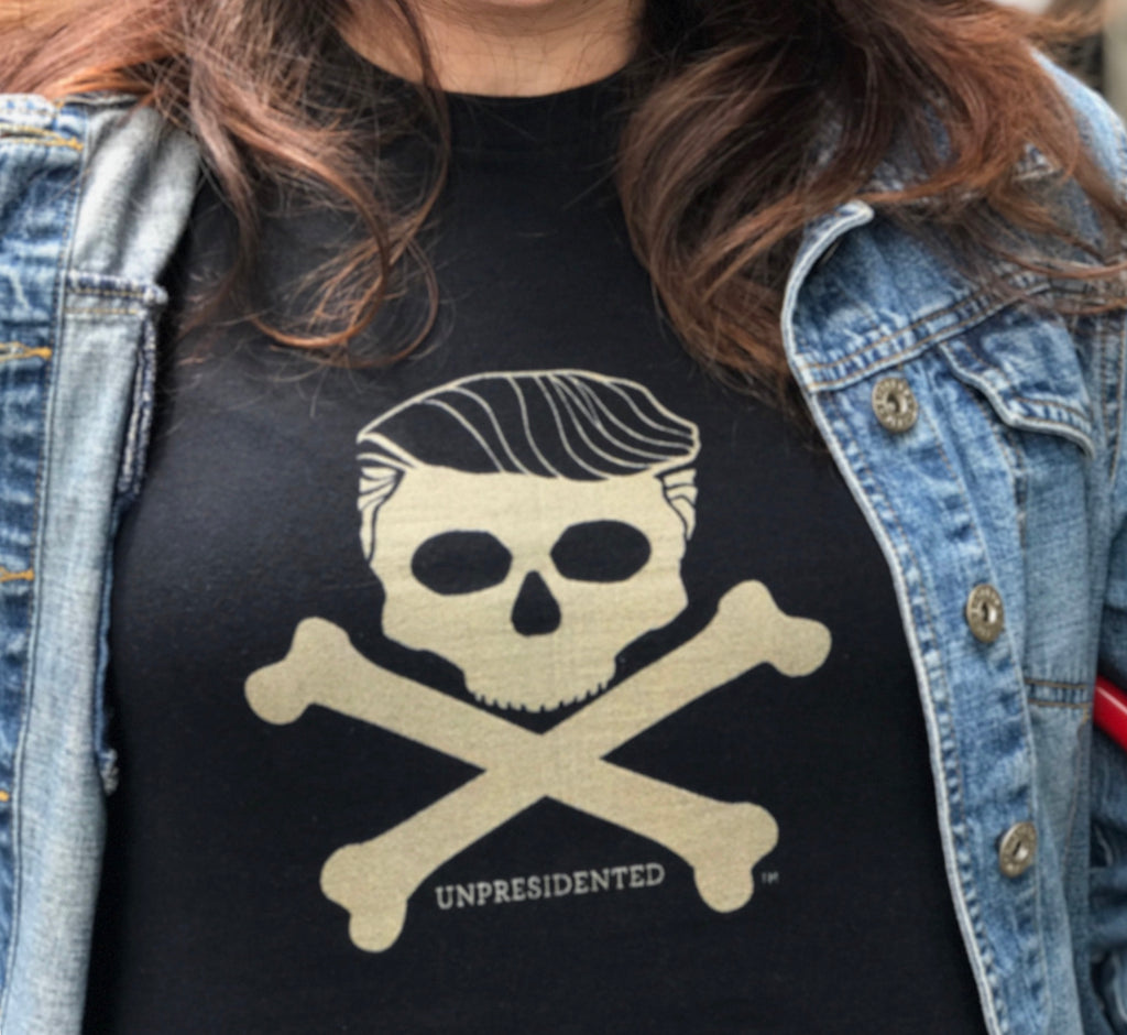 The image of Donald Trump's hair over a skull and crossbones expresses the toxicity on Trumpism in our political culture and in civil society.