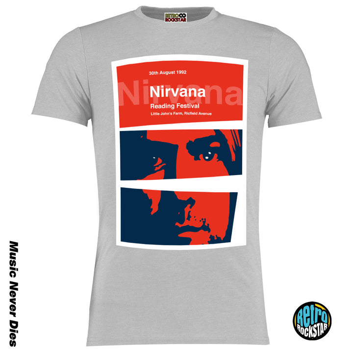 Nirvana Kurt Cobain Reading Festival 92 Retro Gig Tshirt