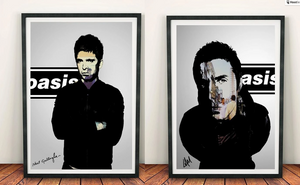 Oasis Noel Gallagher 'Def Maybe' & Liam Gallagher 'Morning Glory' Print Set
