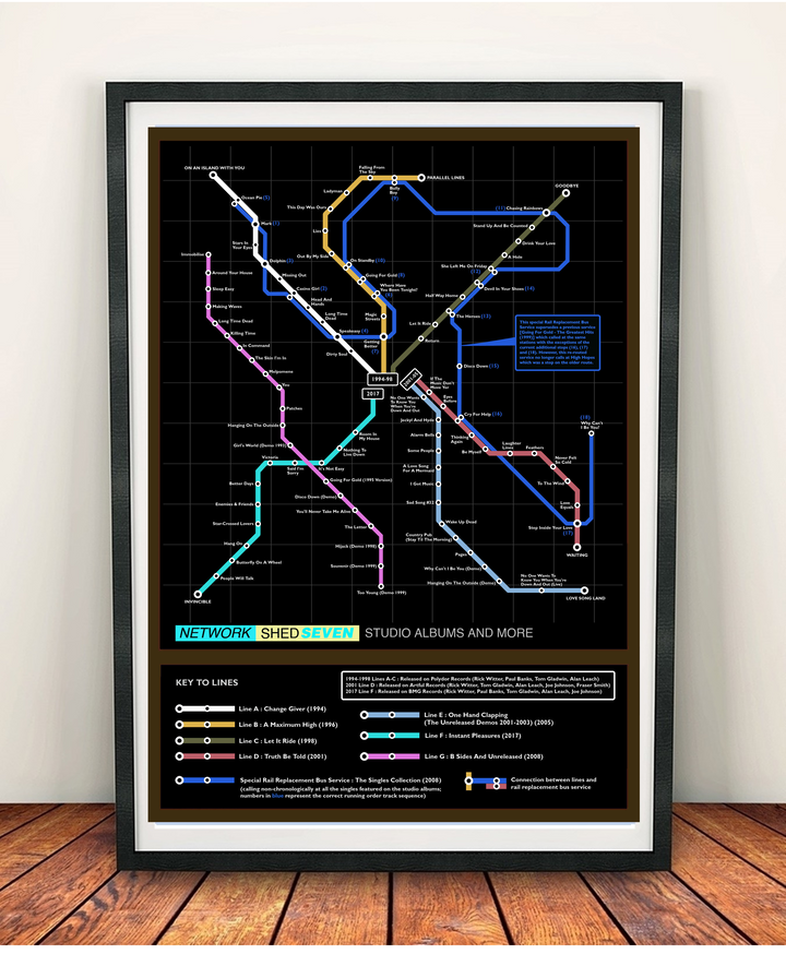 Shed Seven Studio Music Metro Map