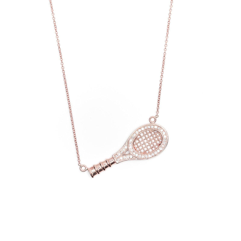 rose gold queen of the court paume racquet necklace