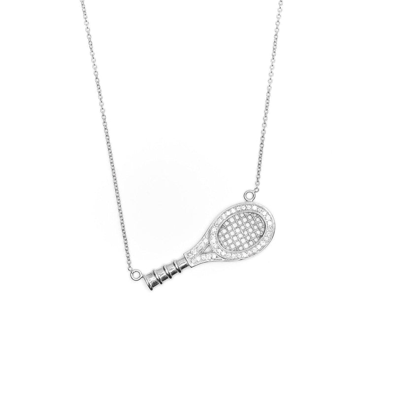 white gold queen of the court paume racquet necklace