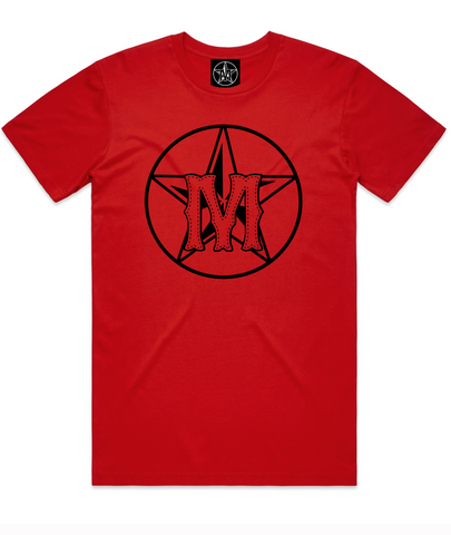 M-ST☆R TEE RED (BLACK LOGO)