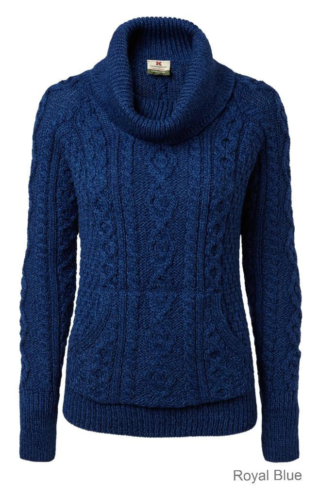Carraig Donn Ladies Roll Neck Sweater, Merino.