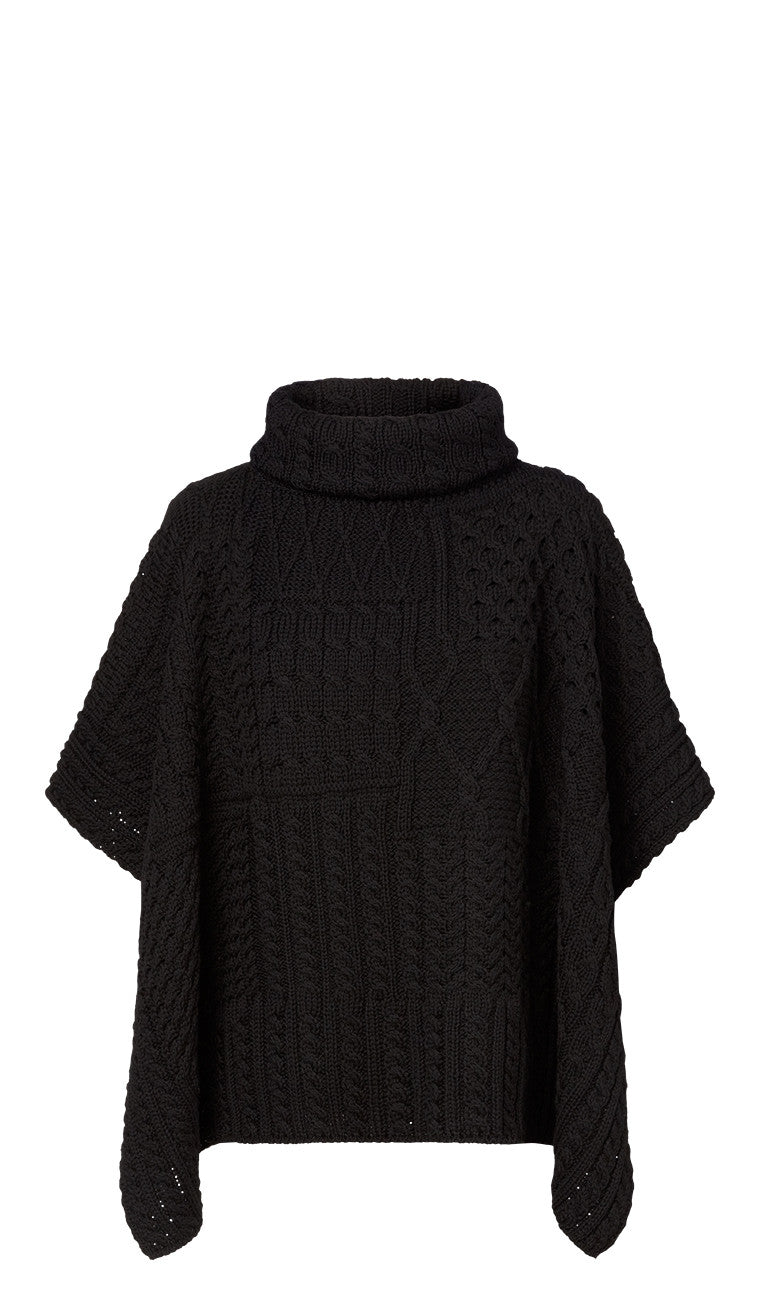 Carraig Donn Ladies Patchwork Cowl Cape, Merino- Black.