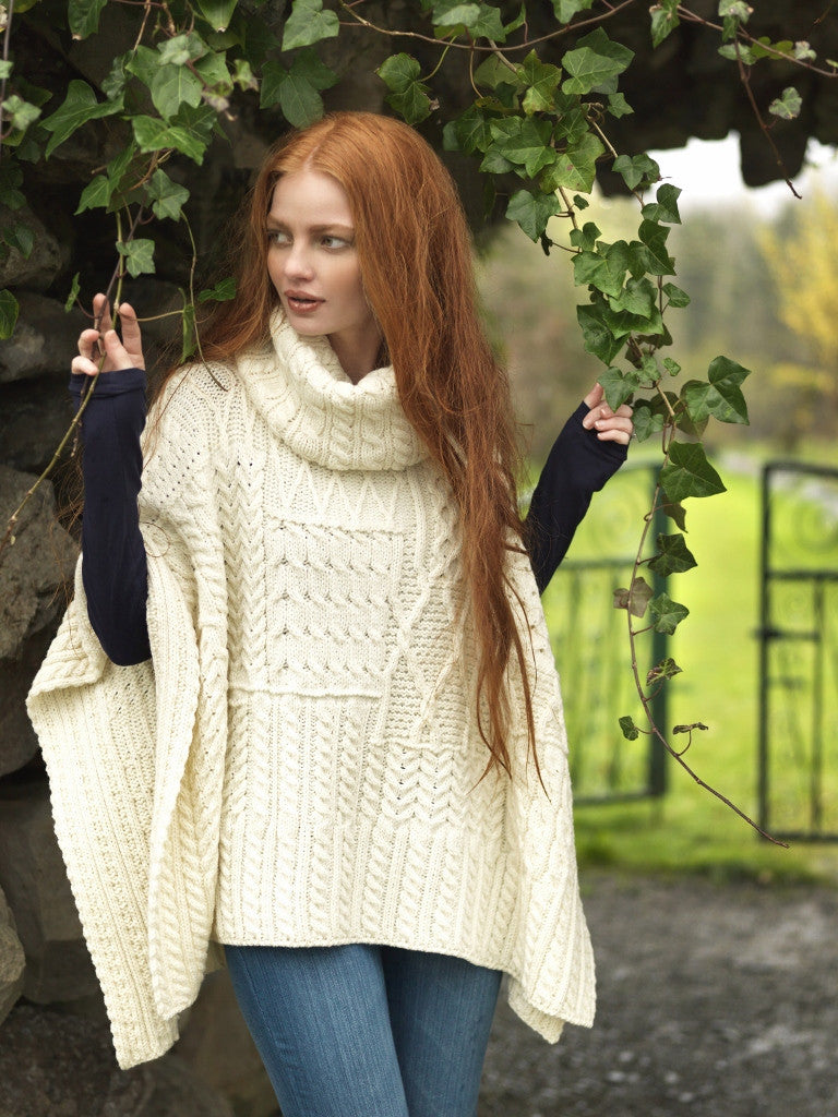 Carraig Donn Ladies Patchwork Cowl Cape, Merino.