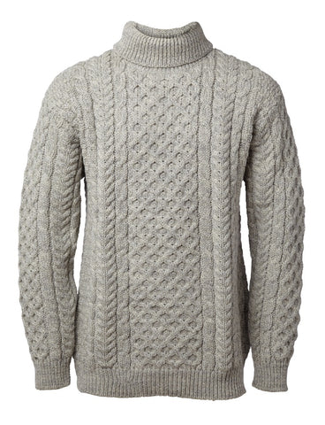 John Molloy Aran Fisherman Sweater Poloneck
