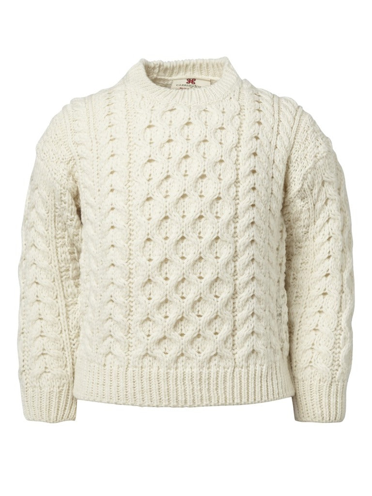 Carraig Donn Kids Aran Sweater, 3-10 år, Super blød Merino, Style A761-162 Natural White. Listepris 499,- Nu 349,-
