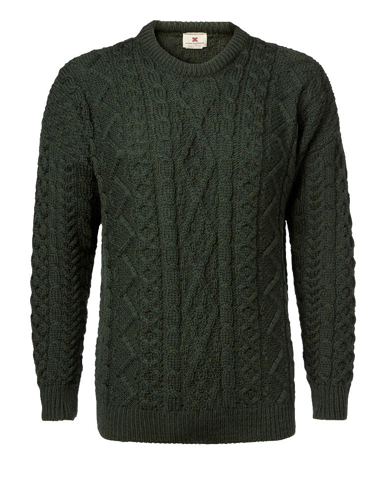 "Carraig Donn Army Green ""Aran Diamond City"" Design Sweater Merino"
