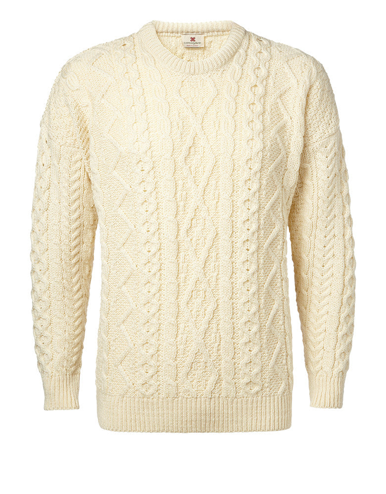 "Carraig Donn Hvid ""Aran Diamond City"" Design Sweater Merino"