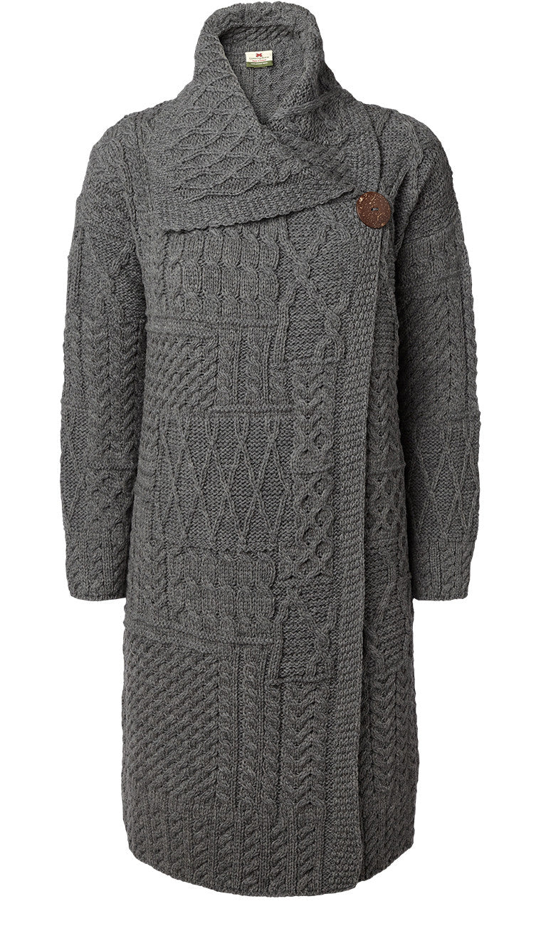 Carraig Donn Patchwork Ladies Long Cardigan, Merino Wool.