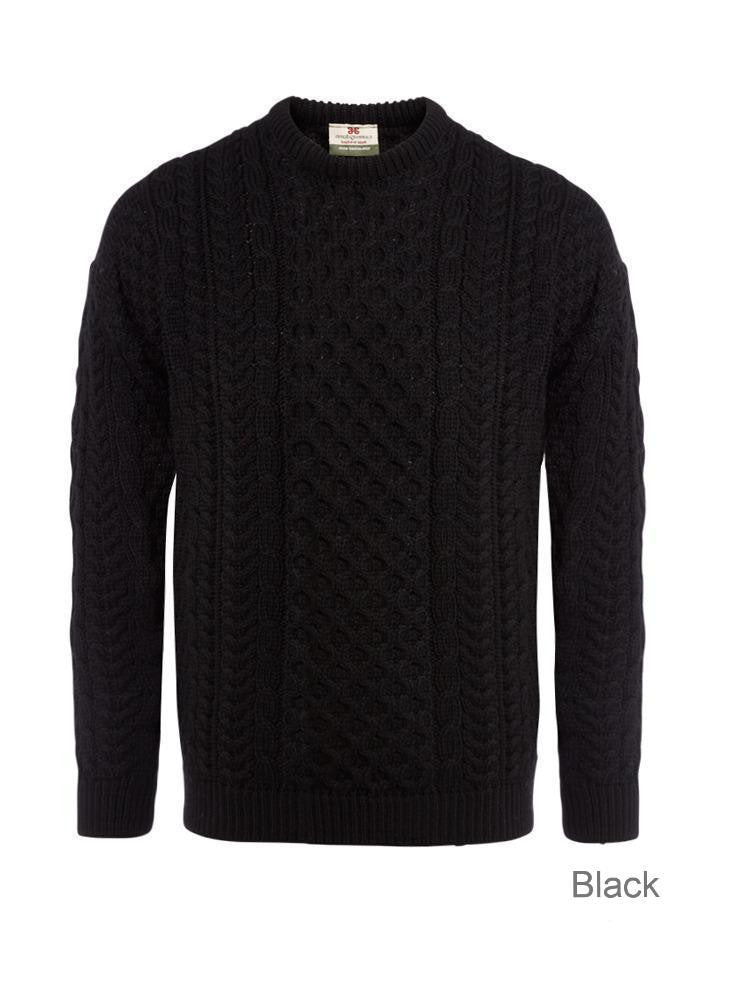 "Carraig Donn Black ""AranTraditional"" Design Sweater, Dame/Herre, Merino"