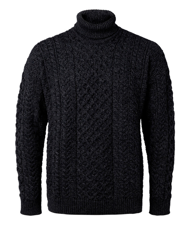 "Carraig Donn Charcoal ""Aran Traditional Polo"" Design Sweater, Dame/Herre Merino"