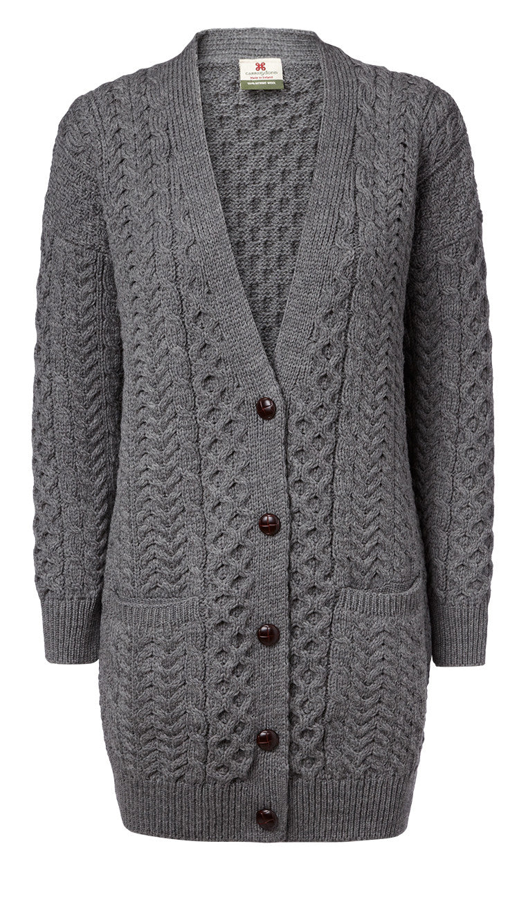 "Carraig Donn Grå ""Boyfriend"" Ladies Medium-Long Cardigan Merino"