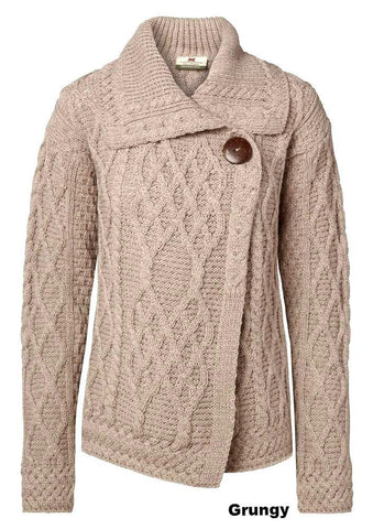 Carraig Donn Trellis Cardigan Ladies Merino.