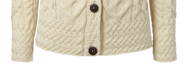 Carraig Donn Large Cable Cardigan, Dame Merino