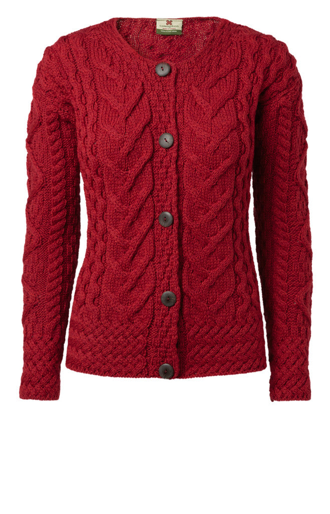 Carraig Donn Large Cable Cardigan, Dame Merino.
