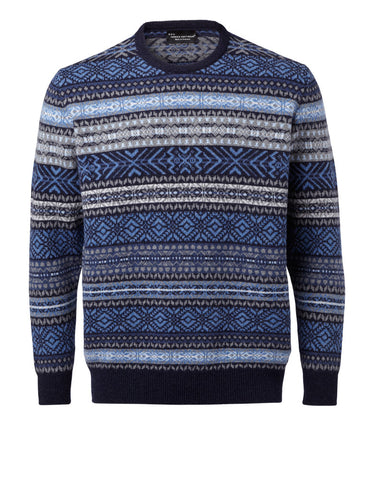 "Hawick Knitwear Mens Luksus Sweater ""Fairisle Blue"""