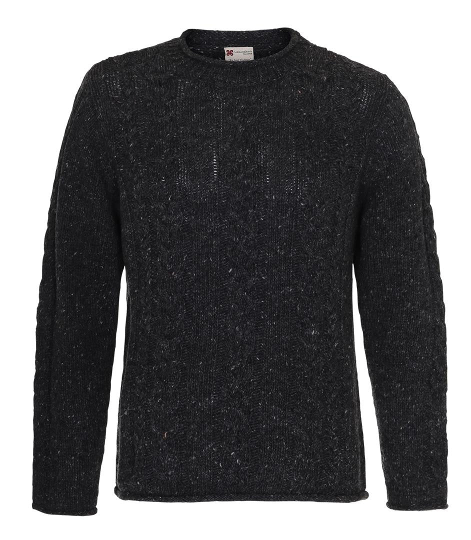 Roll Neck Cable Crew Carraig Donn Sweater Charcoal