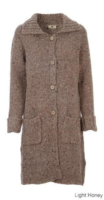 Carraig Donn Ladies Long Cardigan, Donegal Wool.