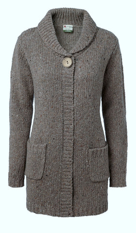 "Carraig Donn ""Stella"" Ladies Medium-Long Cardigan, Donegal Wool."