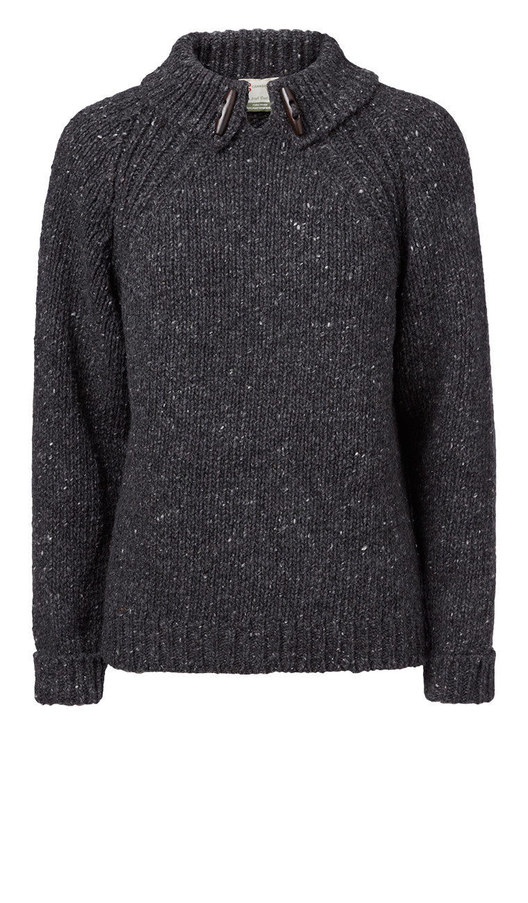 Carraig Donn Ladies Toggle Jumper, Donegal Wool.