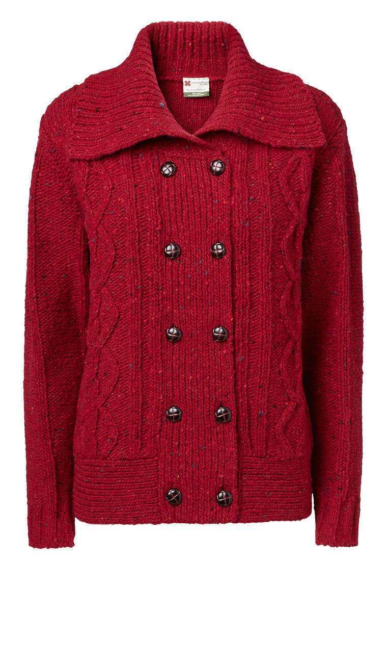 "Carraig Donn Ruby ""Caroline"" Ladies Cardigan, Donegal Wool"