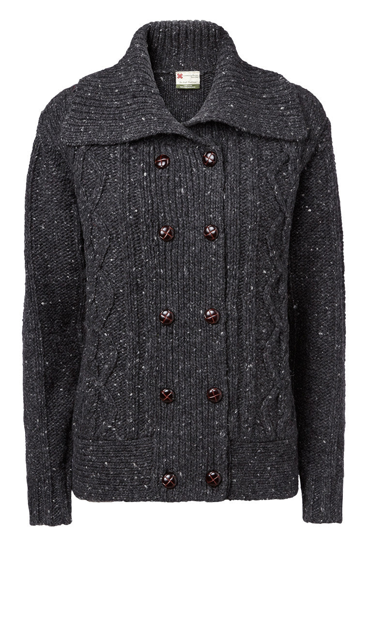 "Carraig Donn Charcoal ""Caroline"" Ladies Cardigan, Donegal Wool"