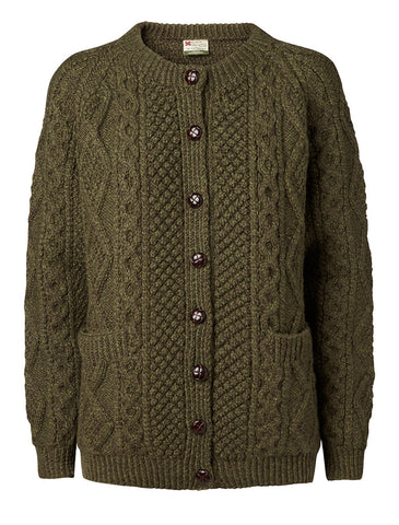 "Carraig Donn Håndstrikket, Moss Green ""Luxury Aran Ladies"" Cardigan,  Dame Merino."