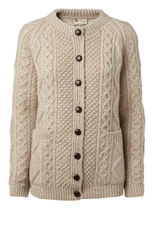 "Carraig Donn Håndstrikket, Honey Oat ""Luxury Aran Ladies"" Cardigan, Dame Merino"