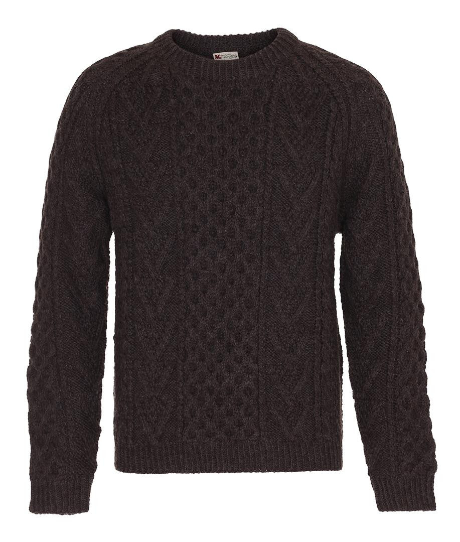 Håndstrikket Honeycomb Crew Carraig Donn Brown
