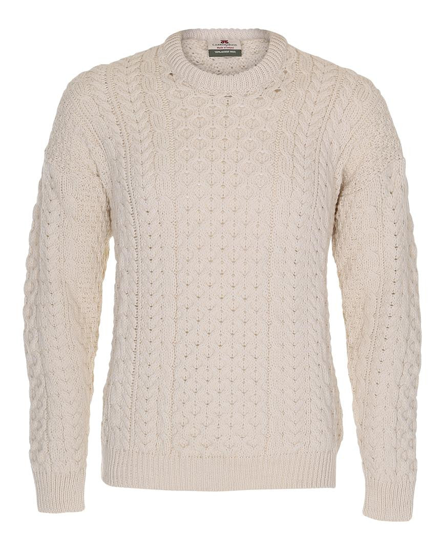 Carraig Donn White Aran Traditional Design Sweater Herre/Dame merino