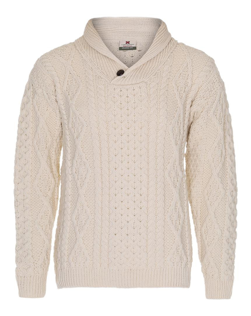 Men's Shawl Collar Carraig Donn Natural White