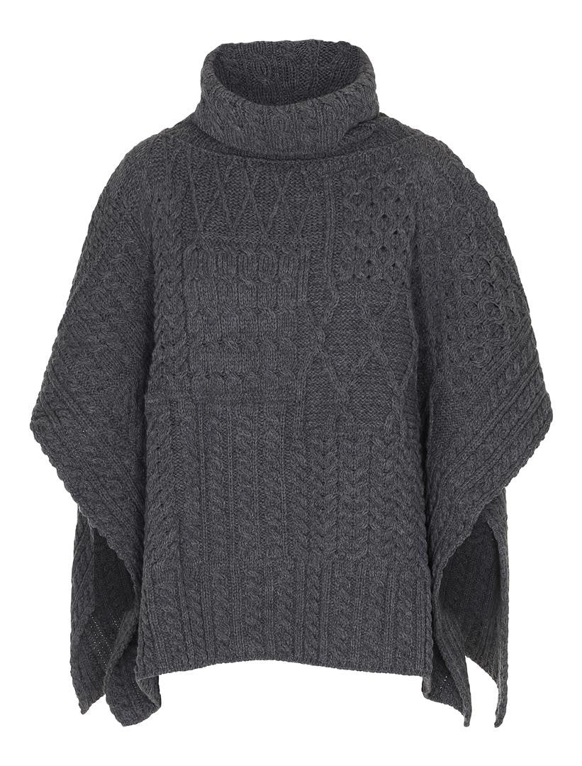 Dame Patchwork Cowl Cape Carraig Donn Charcoal