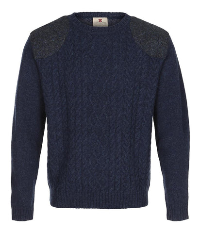 Herre Shetland Crew with Tweed Sweater Carraig Donn Blue