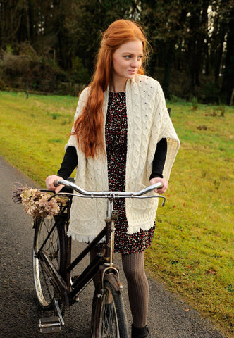 Carraig Donn Ladies Wrap med lommer, Merino.