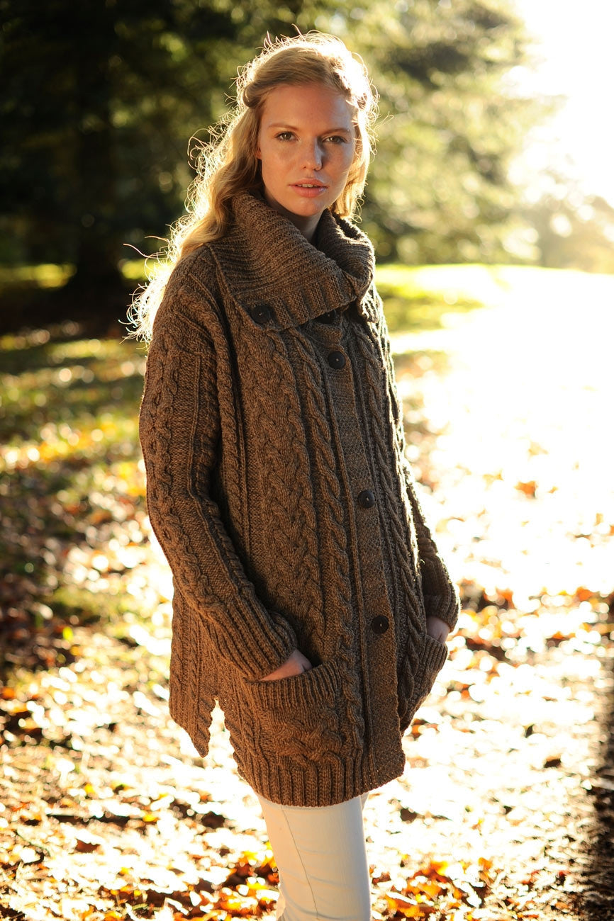 "Carraig Donn ""Steffany"" Ladies Cardigan, Merino Wool."