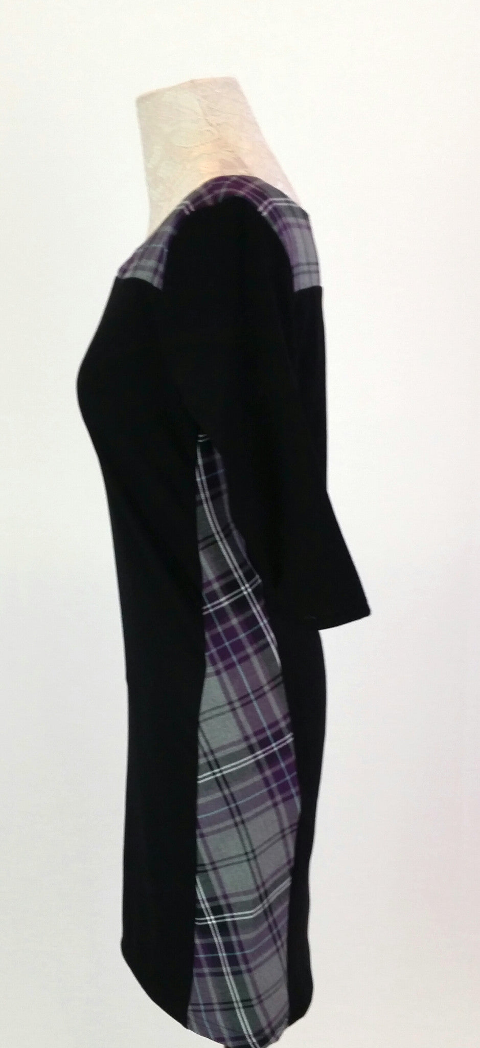 side view of Clodagh dress in Tartan Touch Purple