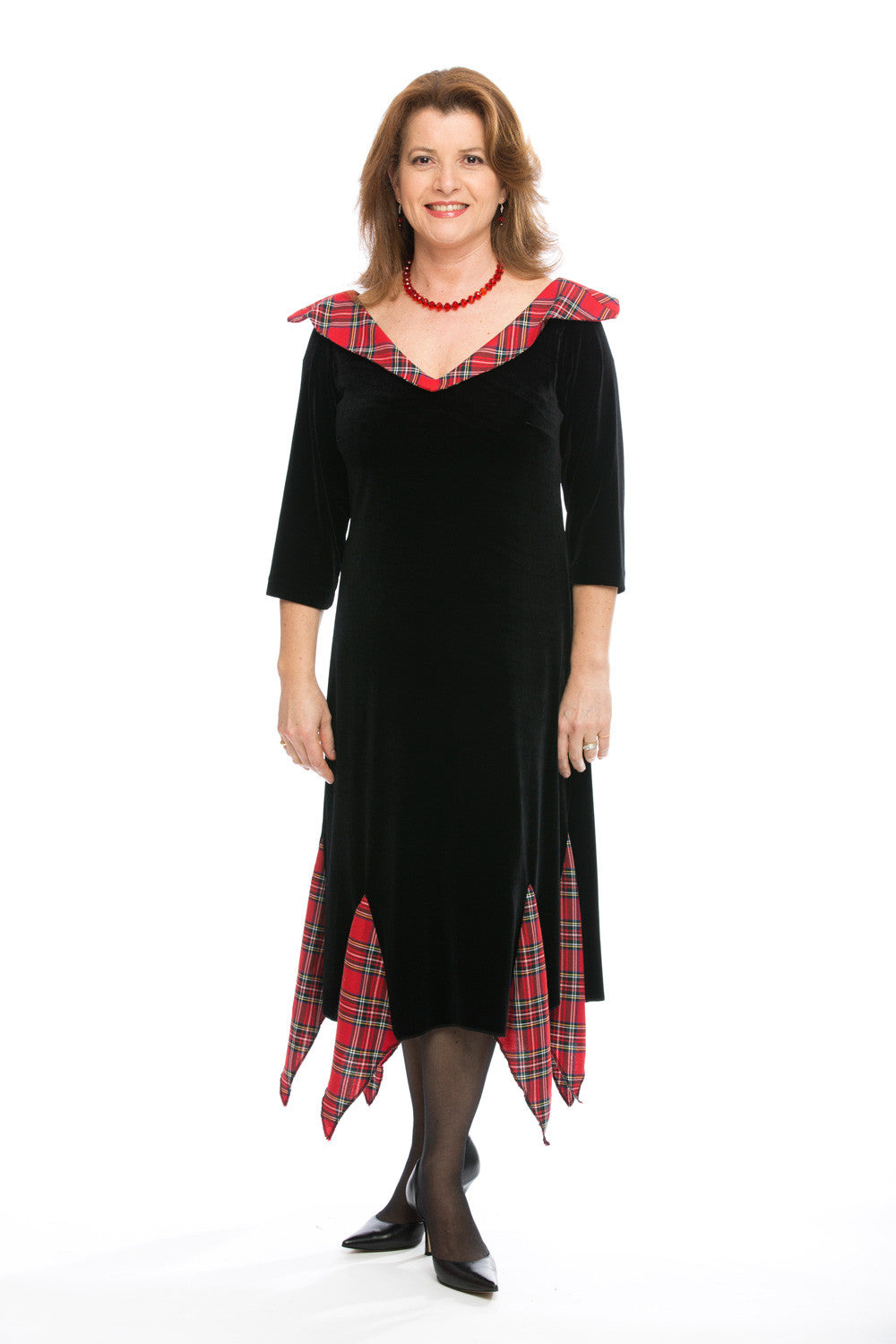 long sleeved Fiona dress in Red Stewart Tartan
