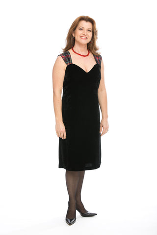 Lorna dress in velvet with Black Stewart tartan