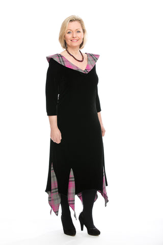 long sleeved Fiona dress in Tartan Touch Pink Tartan